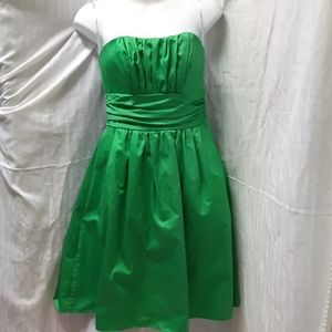 Cotton sateen short strapless ruched w/pockets
